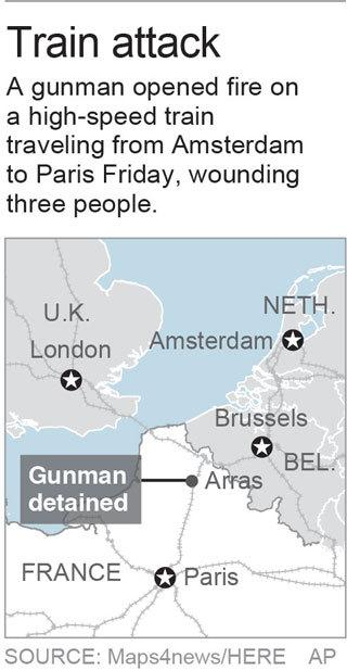 Map locates Arras, France where a suspected gunman was detained following an attack on a train; 1c x 3 inches; 46.5 mm x 76 mm;