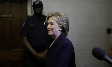 U.S. Democratic presidential candidate Hillary Clinton arrives at  the House Select Committee on Benghazi, on Capitol Hill in Washington October 22, 2015.         REUTERS/Gary Cameron