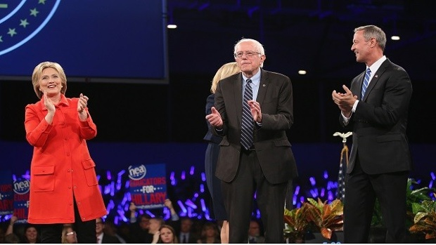 Clinton-Sanders-O-Malley-on-stage-Scott-Olson-Getty-Images-jpg