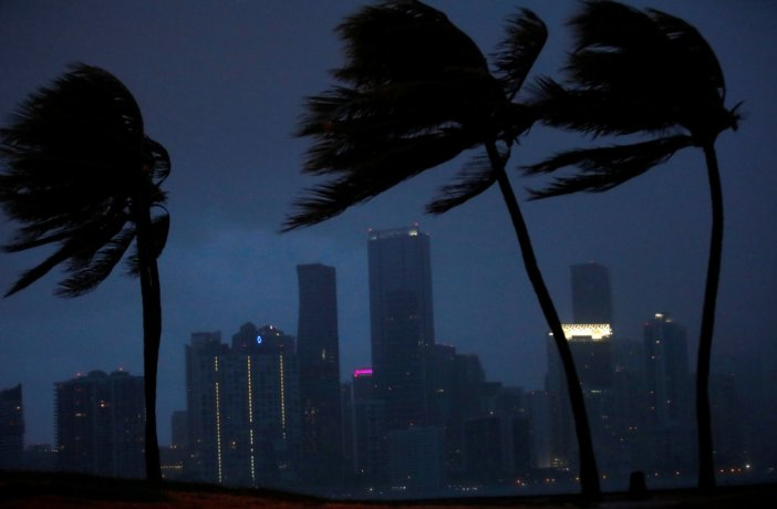 Dark clouds are seen over Miami's skyline before the arrival of Hurricane Irma